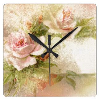 Chicas femeninos del estampado de flores color de reloj de pared