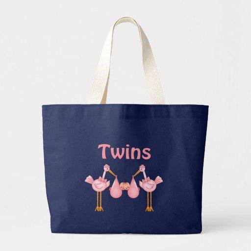 Chicas gemelos bolsa tela grande