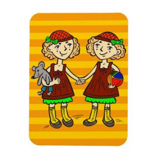 Chicas gemelos iman rectangular