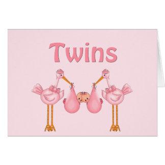 Chicas gemelos tarjeta de felicitación