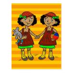 Chicas gemelos tarjeta postal