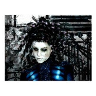Chicas góticos dejados detrás de ciencia ficción postales