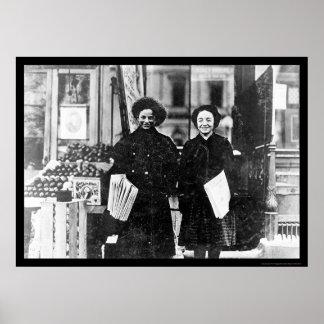 Chicas Hartford, CT 1909 del periódico Póster