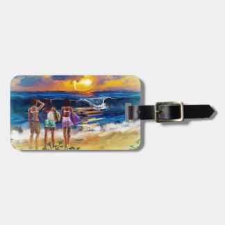 Chicas hawaianos de la resaca etiqueta para maleta