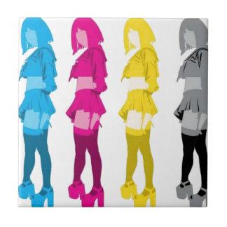 Chicas imponentes del cosmo azulejo