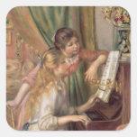Chicas jóvenes en el piano, 1892 pegatina cuadrada