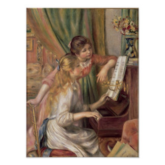Chicas jóvenes en el piano, 1892 póster