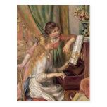 Chicas jóvenes en el piano, 1892 tarjeta postal
