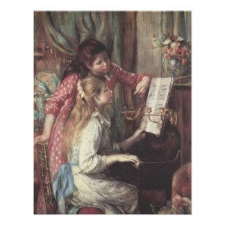 Chicas jóvenes en el piano arte del impresionismo invitaciones personales