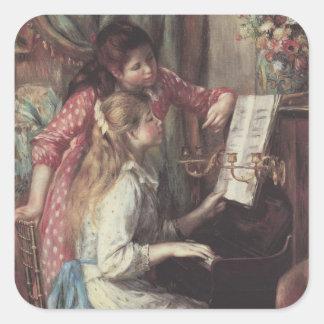 Chicas jóvenes en el piano, arte del impresionismo pegatina cuadradas personalizada