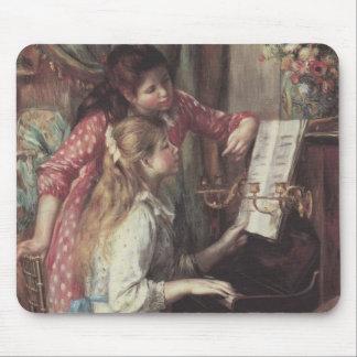 Chicas jóvenes en el piano, arte del impresionismo tapete de ratones