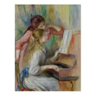 Chicas jóvenes en el piano, c.1890 postal