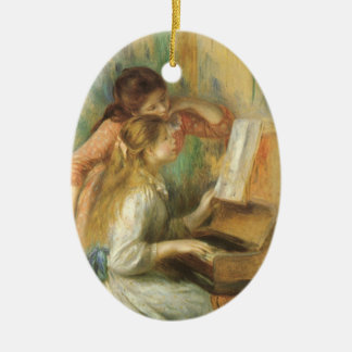 Chicas jóvenes en el piano de Pedro Renoir Adorno Navideño Ovalado De Cerámica