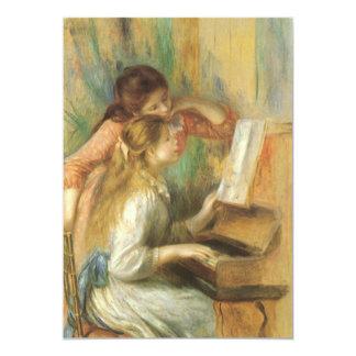 """Chicas jóvenes en el piano de Pedro Renoir Invitación 5"""" X 7"""""""