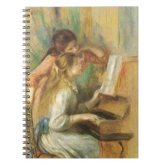 Chicas jóvenes en el piano de Pedro Renoir Note Book