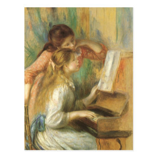Chicas jóvenes en el piano de Pedro Renoir Postales