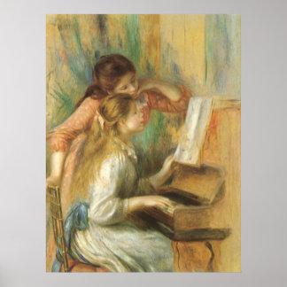 Chicas jóvenes en el piano de Pedro Renoir Póster
