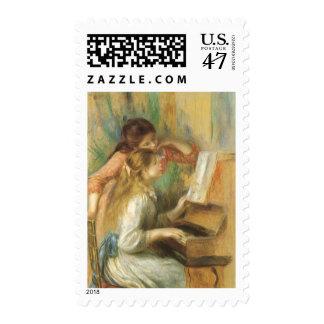 Chicas jóvenes en el piano de Pedro Renoir Sello