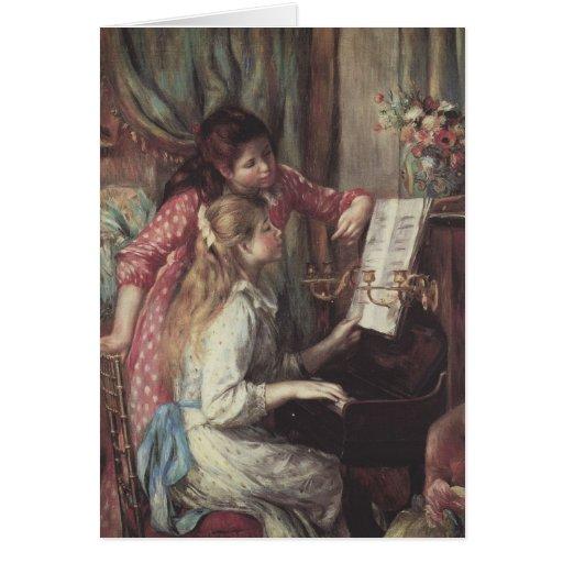 Chicas jóvenes en el piano de Pedro Renoir Felicitación