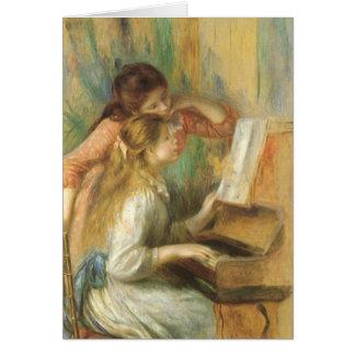 Chicas jóvenes en el piano de Pedro Renoir Tarjeta De Felicitación