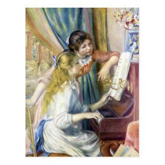 Chicas jóvenes en el piano de Pedro Renoir Tarjeta Postal