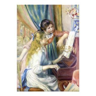 Chicas jóvenes en el piano por Renoir, arte del Comunicados Personalizados