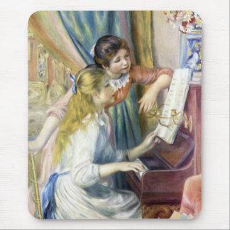 Chicas jóvenes en el piano por Renoir, arte del Tapetes De Raton