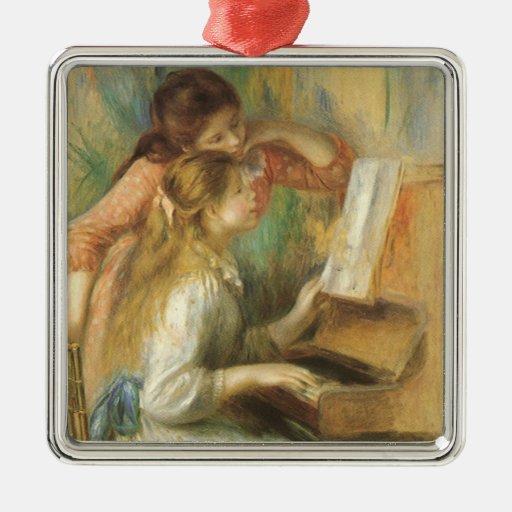 Chicas jóvenes en el piano por Renoir, bella arte Adorno Cuadrado Plateado