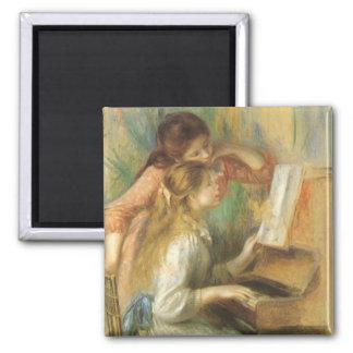 Chicas jóvenes en el piano por Renoir, bella arte Imán Cuadrado