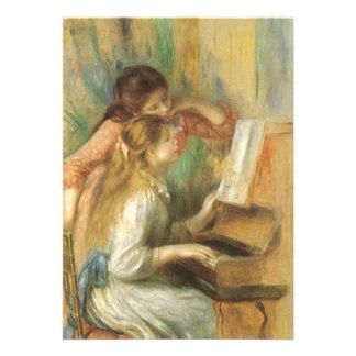 Chicas jóvenes en el piano por Renoir bella arte Comunicados