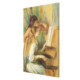 Chicas jóvenes en el piano por Renoir, bella arte Impresion De Lienzo