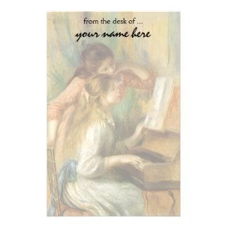 Chicas jóvenes en el piano por Renoir, bella arte Papeleria