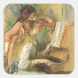 Chicas jóvenes en el piano por Renoir bella arte Calcomanías Cuadradass Personalizadas
