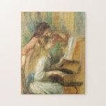 Chicas jóvenes en el piano por Renoir, bella arte Puzzle