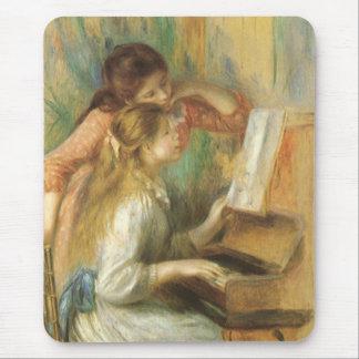 Chicas jóvenes en el piano por Renoir, bella arte Alfombrillas De Ratones