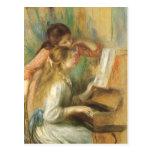 Chicas jóvenes en el piano por Renoir, bella arte Postales