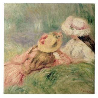 Chicas jóvenes en la orilla del río (aceite en lon azulejo cuadrado grande