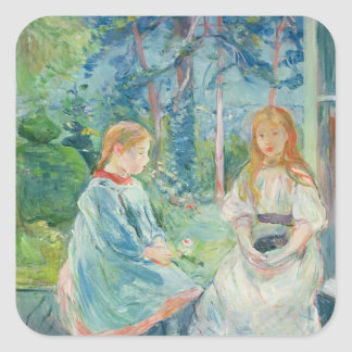 Chicas jóvenes en la ventana, 1892 pegatina cuadrada