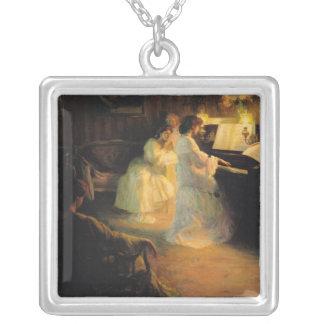 Chicas jóvenes en un piano, 1906 colgante cuadrado