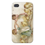 Chicas lindos de Pascua con la postal del Polluelo iPhone 4 Funda