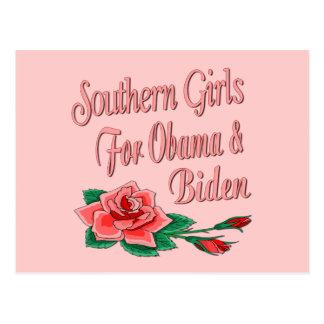 Chicas meridionales para Obama Biden Postales