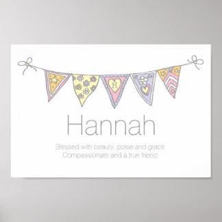 Chicas nombre de Hannah y poster del empavesado Póster