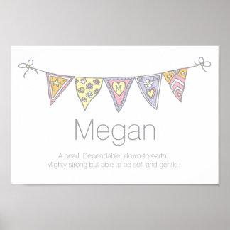 Chicas nombre de Megan y poster del empavesado del