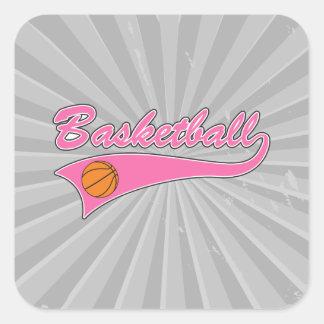 chicas para mujer del rosa del logotipo del pegatina cuadrada