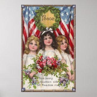 Chicas patrióticos de la libertad póster