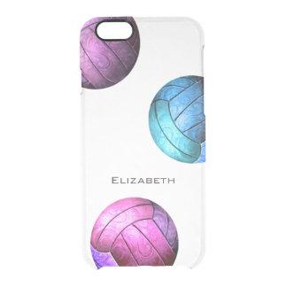 chicas púrpuras rosados del voleibol de la funda clear para iPhone 6/6S