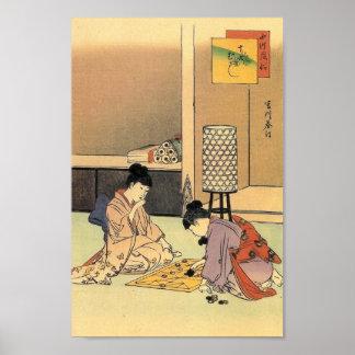 Chicas que juegan una impresión del japonés del ju impresiones