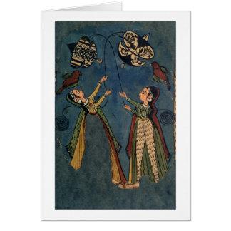 Chicas que vuelan las cometas, pintura popular de  tarjetón