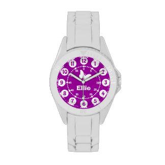 Chicas reloj conocido corto púrpura y del blanco