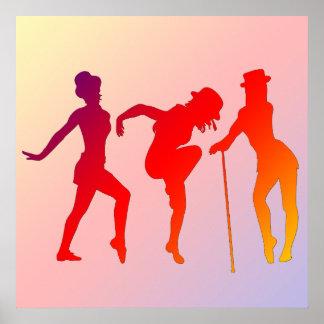 Chicas rojos que bailan el poster del jazz
